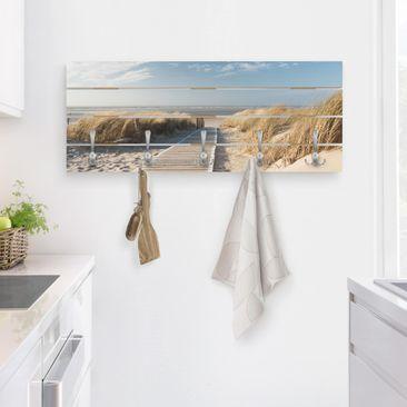 Produktfoto Wandgarderobe Holz - Ostsee Strand - Haken chrom - Quer