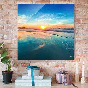 Produktfoto Glasbild - Romantischer Sonnenuntergang am Meer - Quadrat 1:1