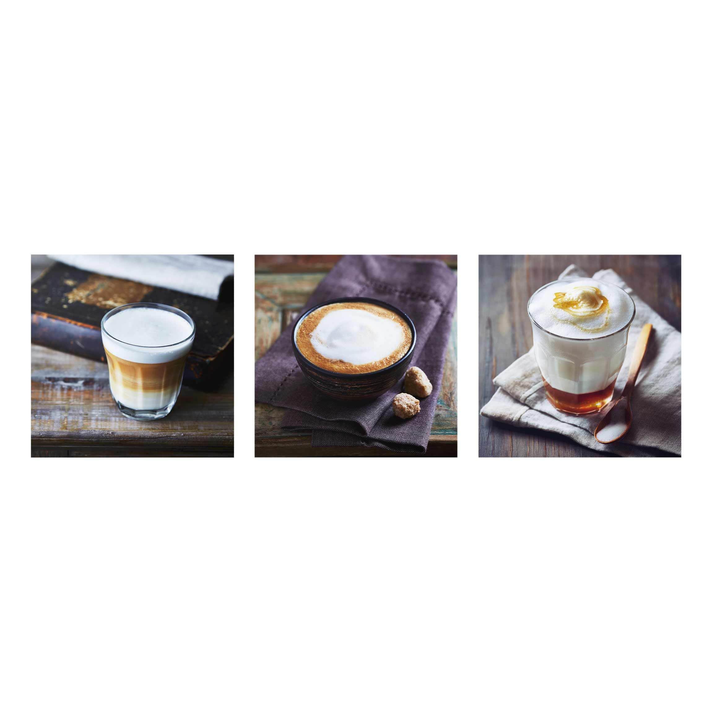 glasbild caff latte 3 teilig. Black Bedroom Furniture Sets. Home Design Ideas