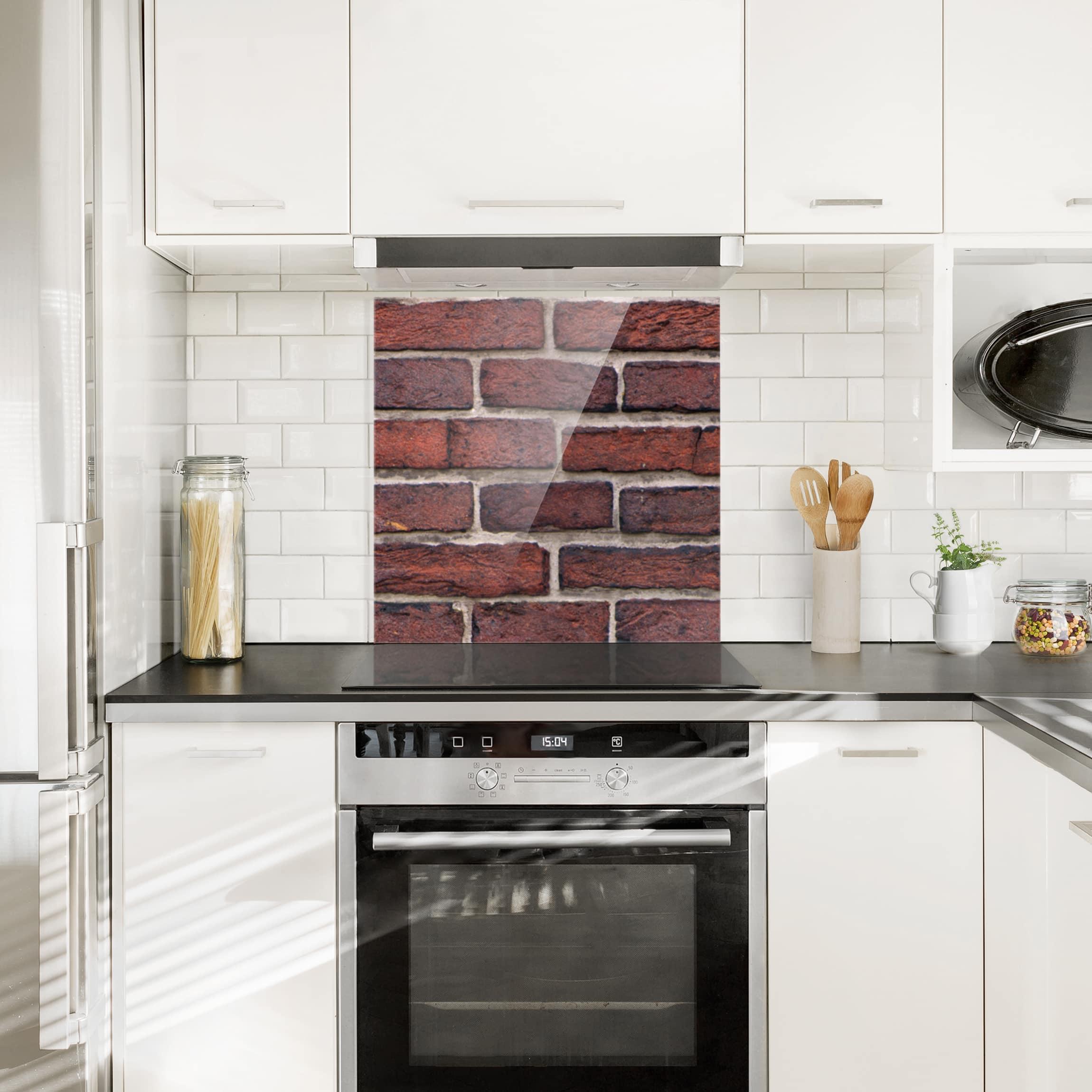 spritzschutz glas backsteinwand rot quadrat 1 1. Black Bedroom Furniture Sets. Home Design Ideas