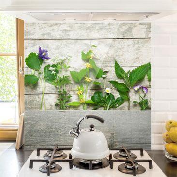 Produktfoto Spritzschutz Glas - Heil und Wiesenkräuter - Quadrat 1:1