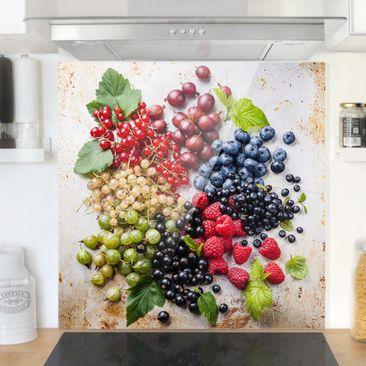 Immagine del prodotto Paraschizzi in vetro - Mixture Of Berries On Metal - Quadrato 1:1