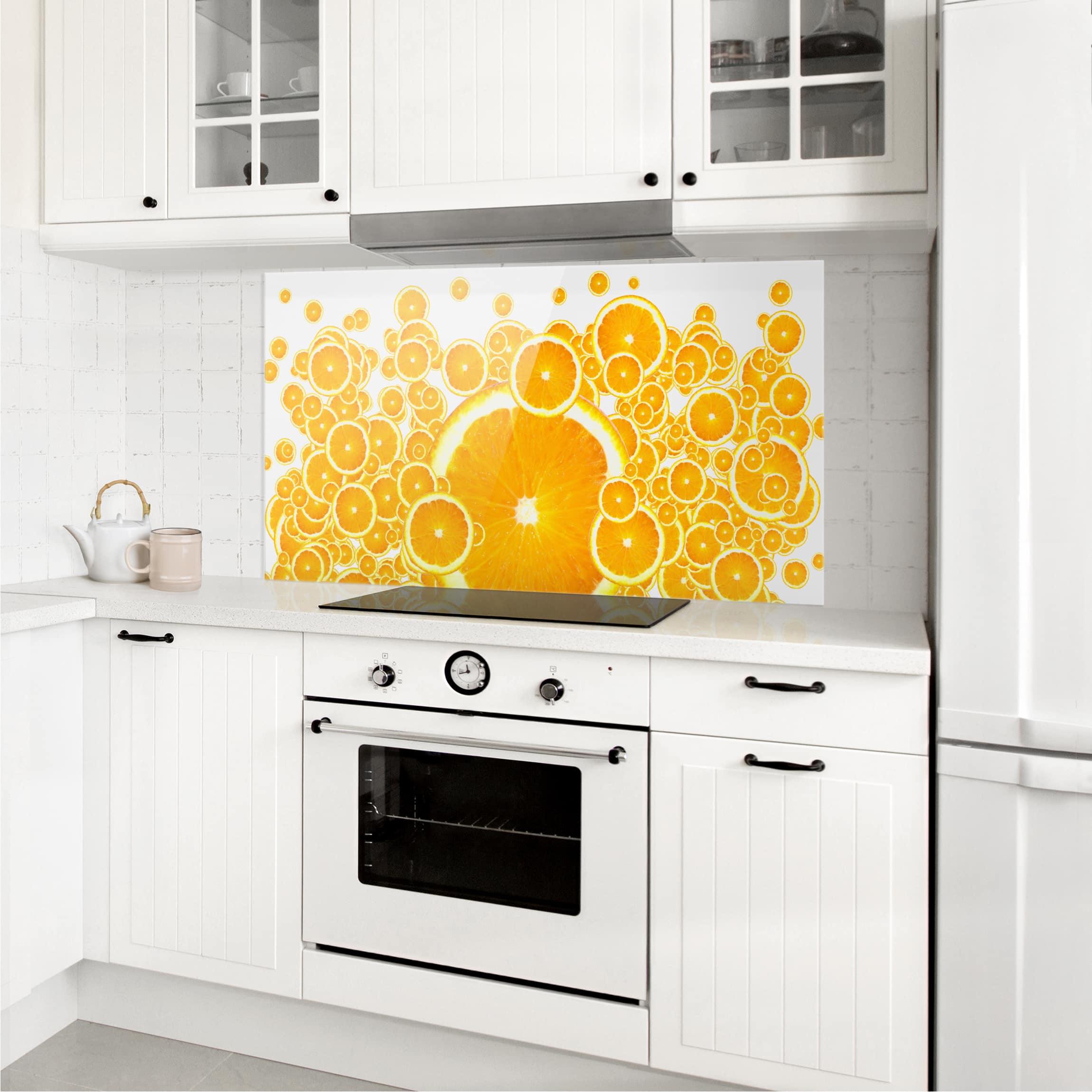 spritzschutz glas retro orange pattern quer 1 2. Black Bedroom Furniture Sets. Home Design Ideas