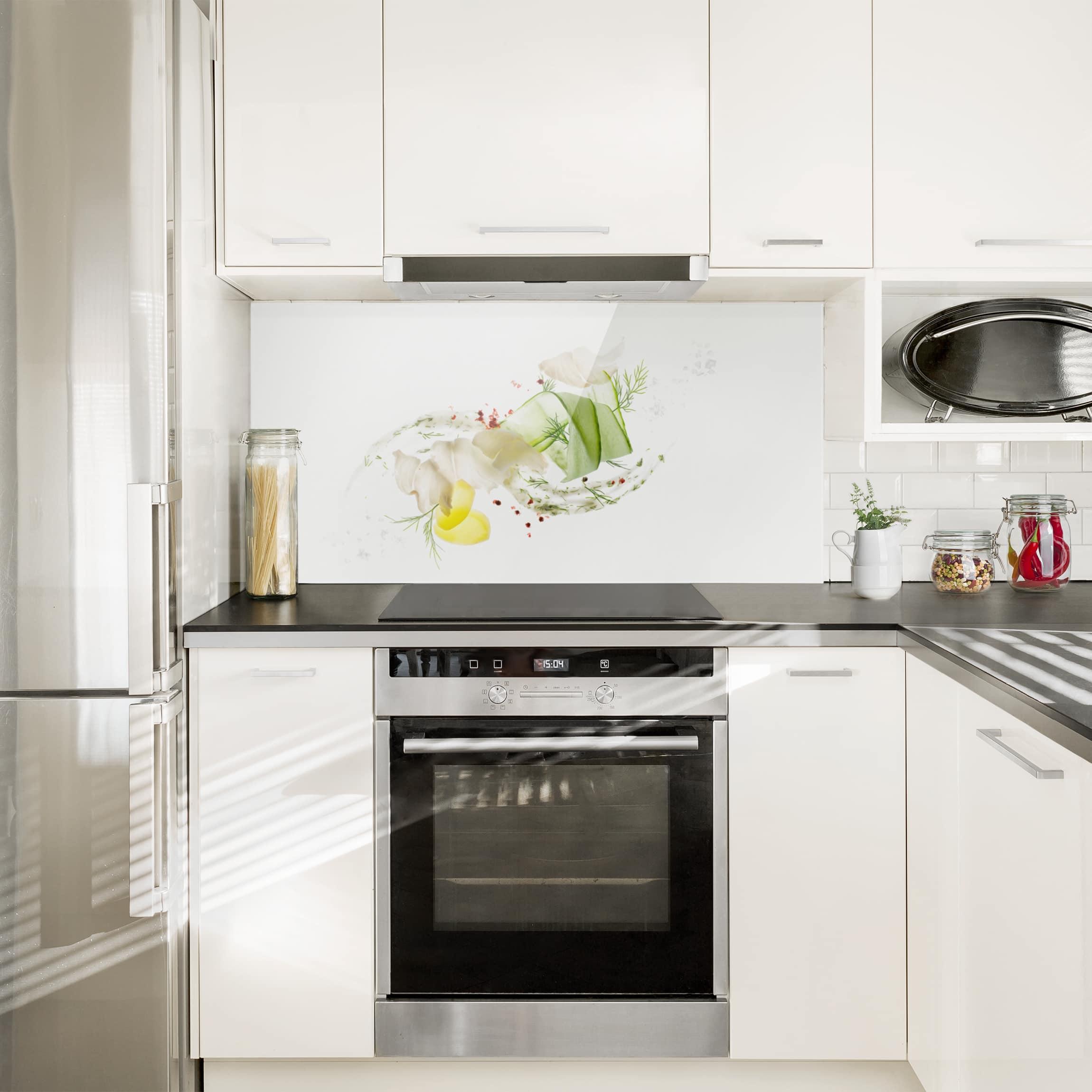 spritzschutz glas fischkreation quer 1 2. Black Bedroom Furniture Sets. Home Design Ideas