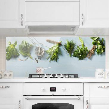 Produktfoto Spritzschutz Glas - Gebündelte Kräuter - Panorama Quer