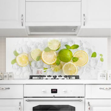 Produktfoto Spritzschutz Glas - Zitrusfrüchte auf Eiswürfel - Panorama Quer