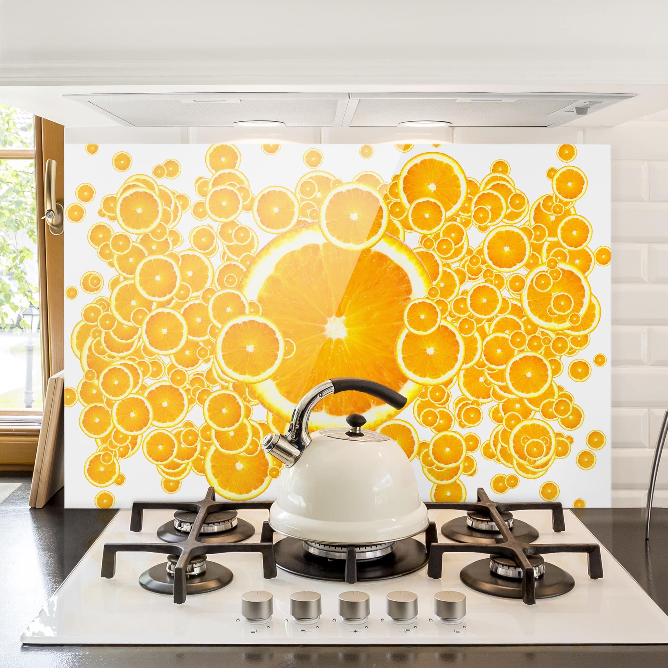 spritzschutz glas retro orange pattern quer 2 3. Black Bedroom Furniture Sets. Home Design Ideas