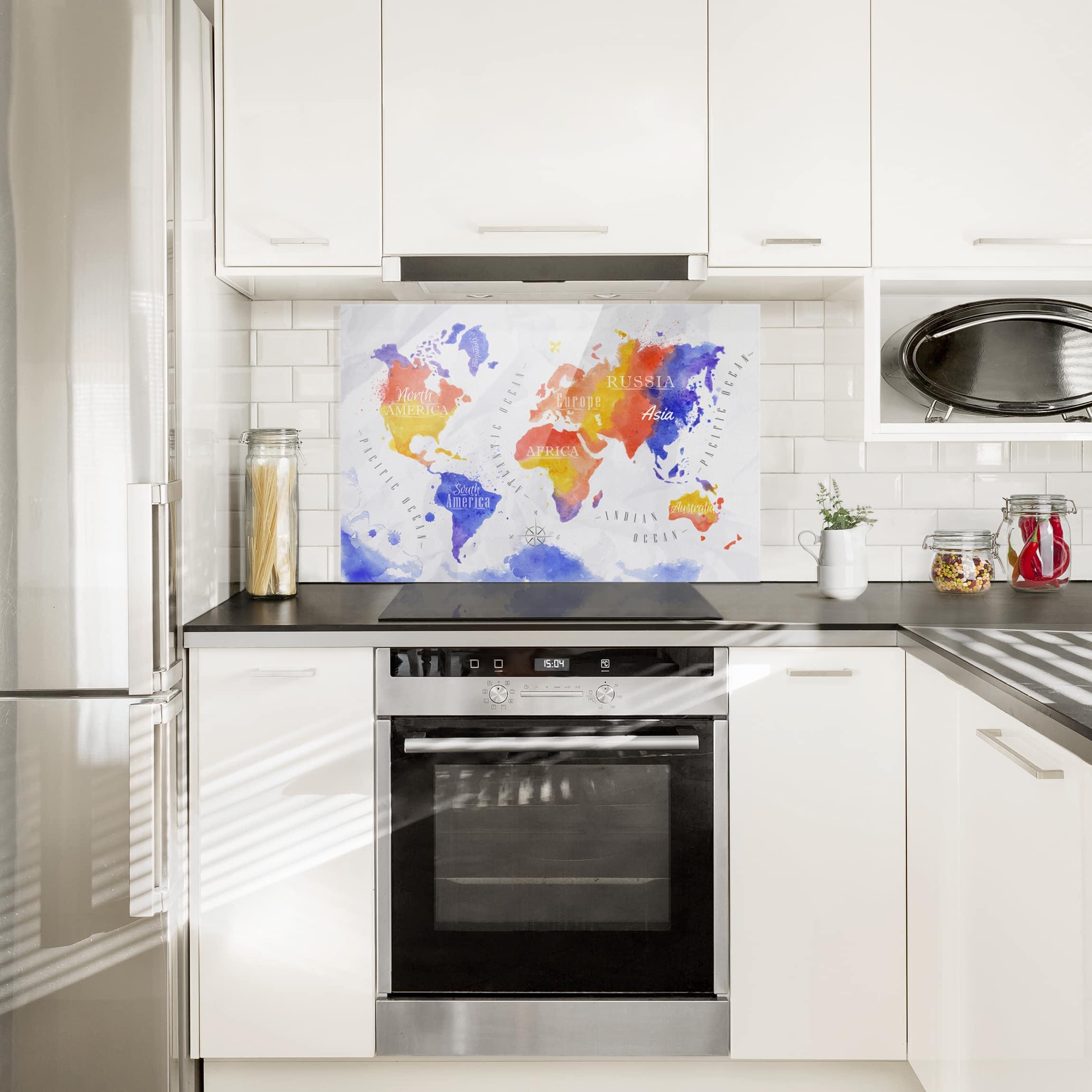 Spritzschutz Glas - Weltkarte Aquarell violett rot gelb - Quer 2:3