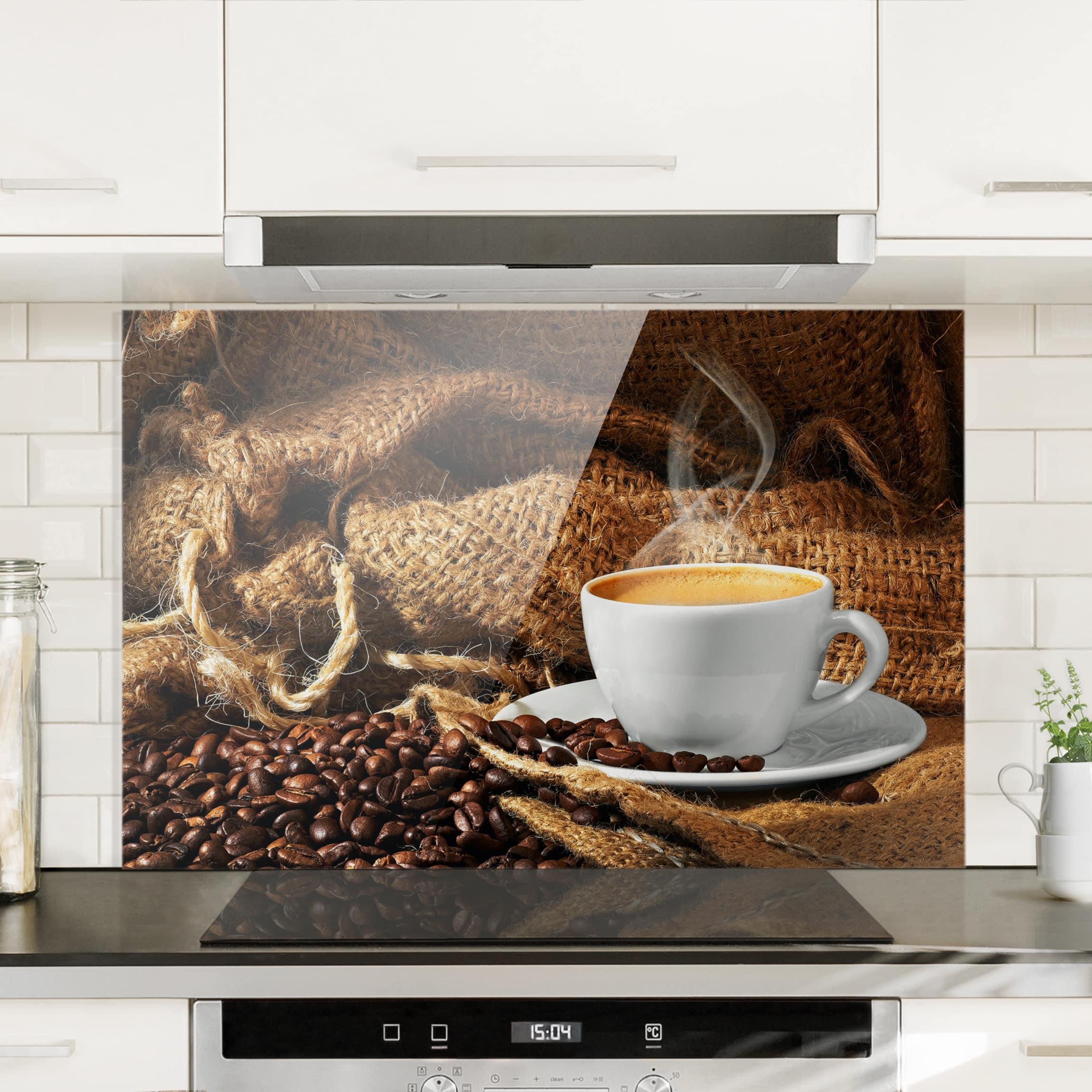 spritzschutz glas kaffee am morgen quer 2 3. Black Bedroom Furniture Sets. Home Design Ideas