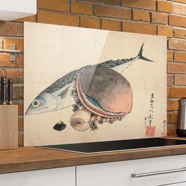 Produktfoto Spritzschutz Glas - Katsushika Hokusai - Makrele und Seemuscheln - Quer 2:3