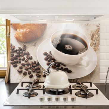 Immagine del prodotto Paraschizzi in vetro - Steaming Coffee Cup With Coffee Beans - Orizzontale 2:3