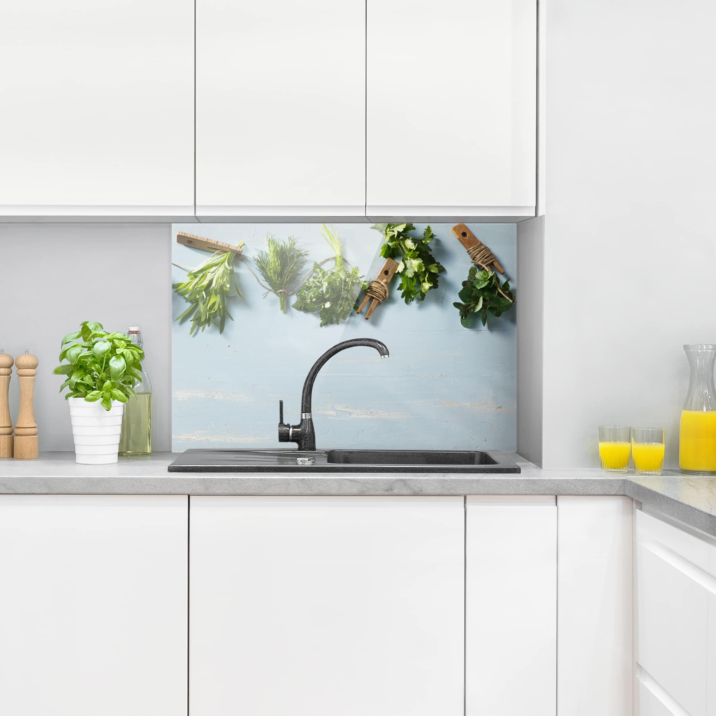 spritzschutz glas geb ndelte kr uter quer 2 3. Black Bedroom Furniture Sets. Home Design Ideas