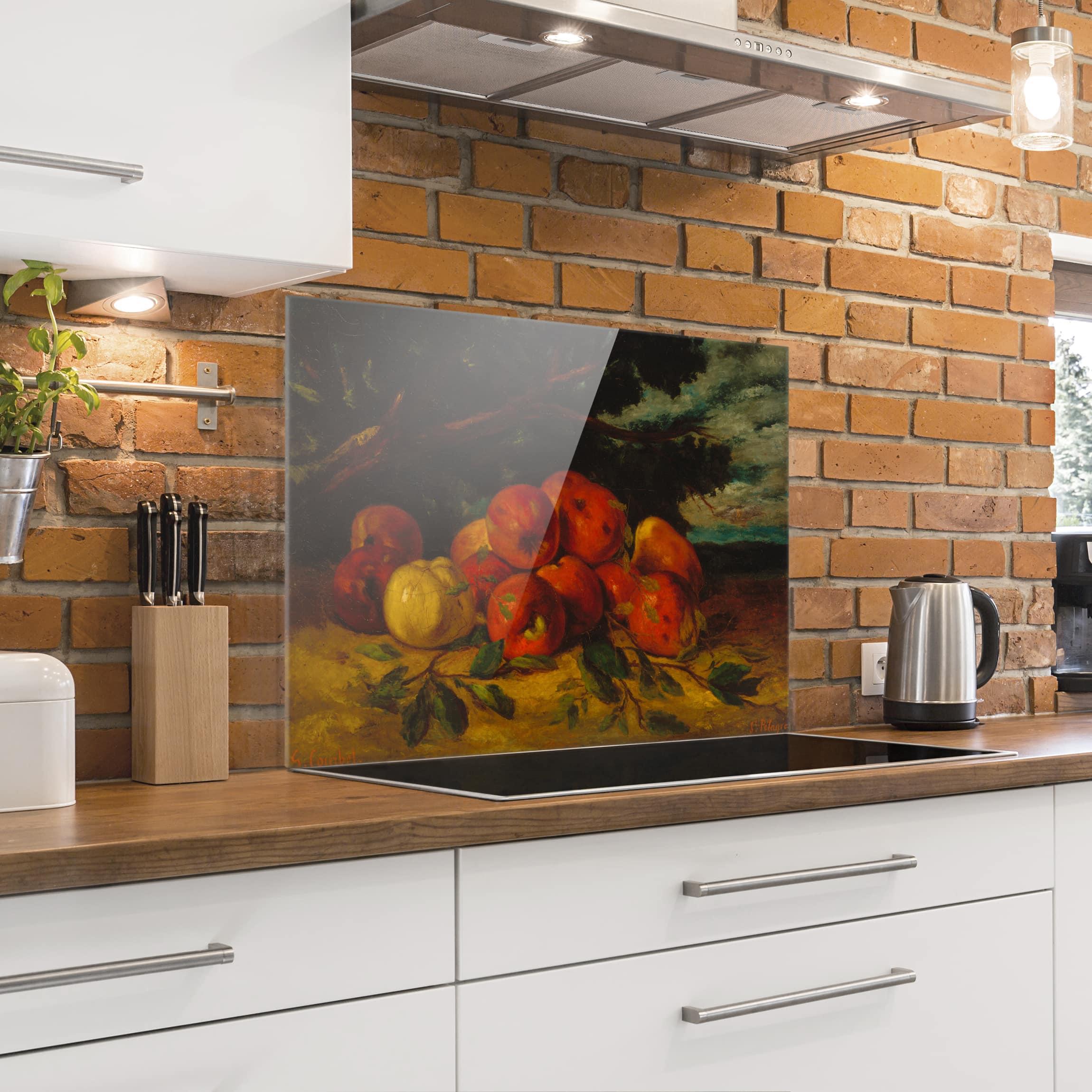spritzschutz glas gustave courbet apfelstillleben quer 3 4. Black Bedroom Furniture Sets. Home Design Ideas