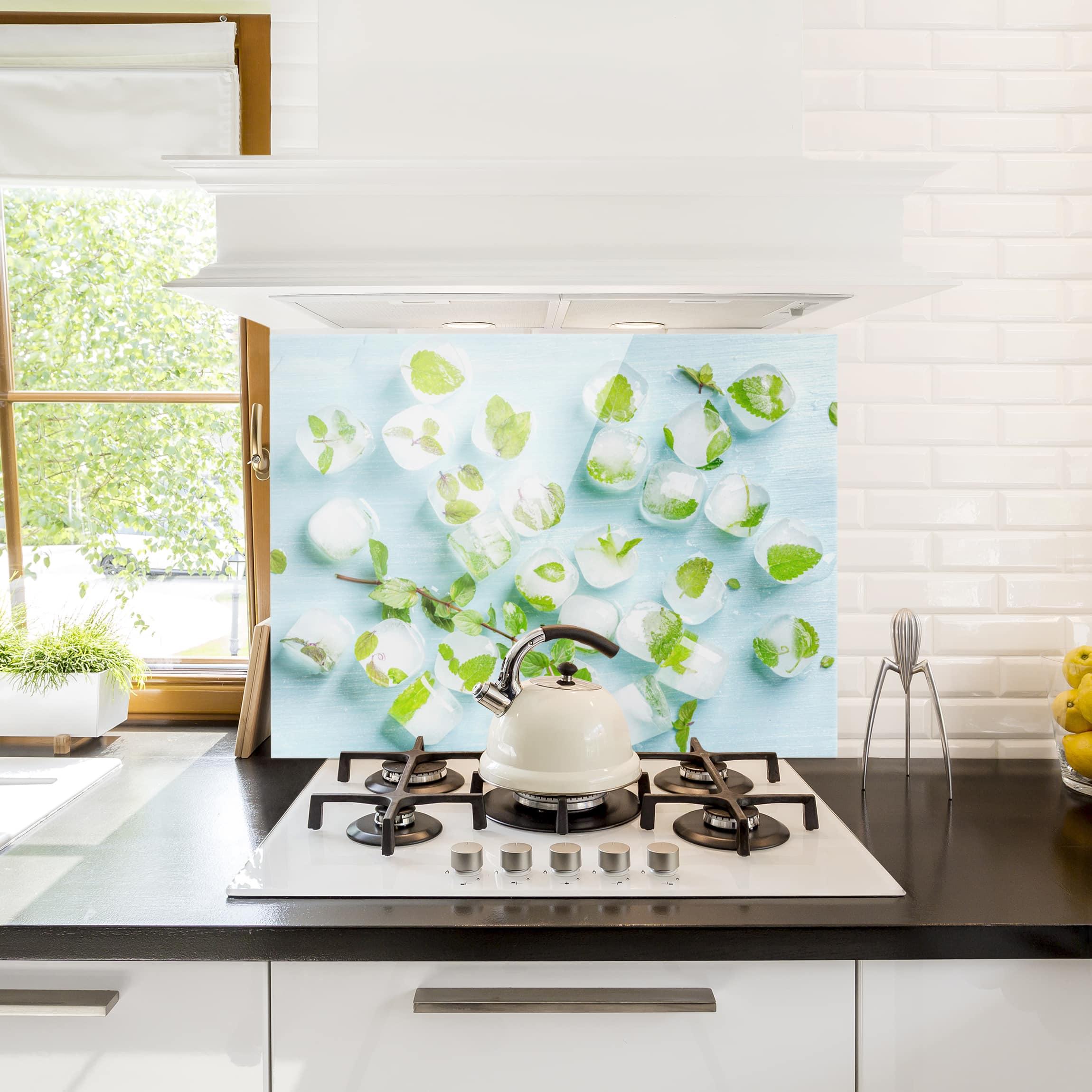 spritzschutz glas eisw rfel mit minzbl ttern quer 3 4. Black Bedroom Furniture Sets. Home Design Ideas