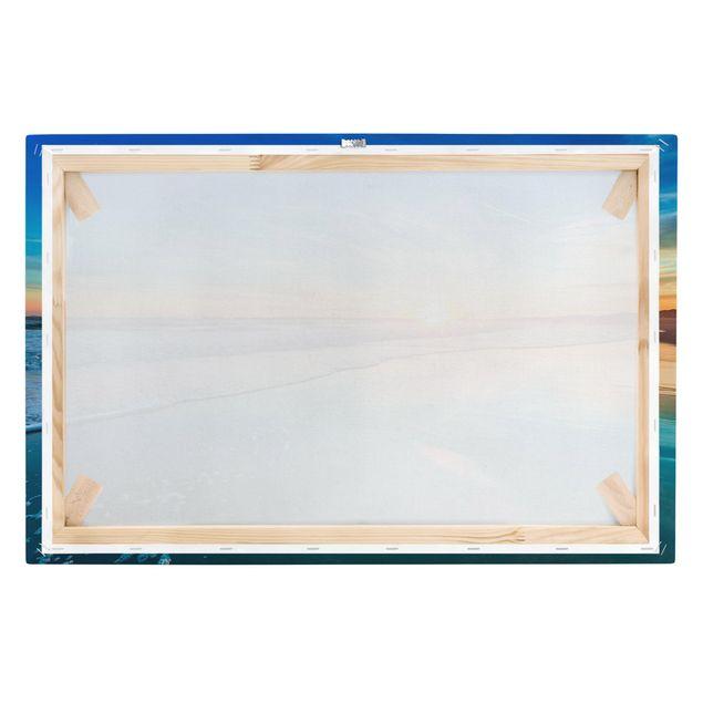 Produktfoto Leinwandbild - Romantischer Sonnenuntergang am Meer - Quer 2:3, Keilrahmen Rückseite, Artikelnummer 216829-FB