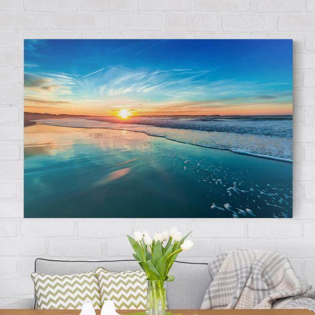 Produktfoto Leinwandbild - Romantischer Sonnenuntergang am Meer - Quer 2:3, vergrößerte Ansicht in Wohnambiente, Artikelnummer 216829-XWA