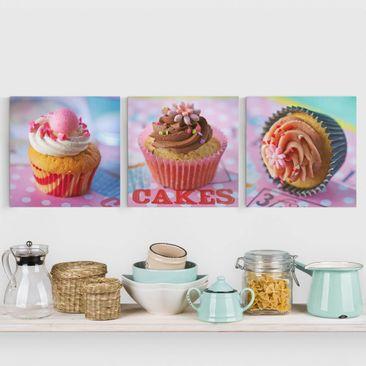 Produktfoto Leinwandbild 3-teilig - Bunte Cupcakes -...