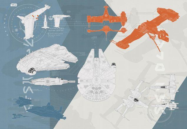 Produktfoto Star Wars Episode VIII Kindertapete - Technischer Plan - Komar Fototapete