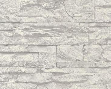 Produktfoto A.S. Création Mustertapete - Best of Wood`n Stone - Vlies Grau Weiß 707116