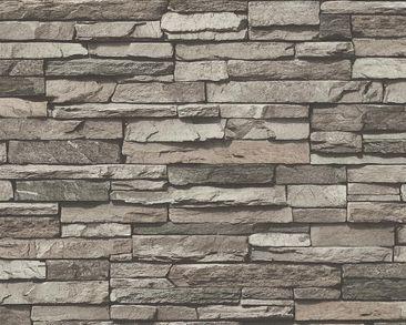Produktfoto A.S. Création moderne Landhaus Tapete - Best of Wood`n Stone - Vlies Creme Grau Schwarz 958331