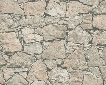 Produktfoto A.S. Création moderne Landhaus Tapete - Best of Wood`n Stone - Vlies Beige Grau Schwarz 958632