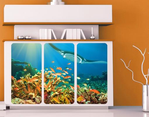 Produktfoto Selbstklebendes Wandbild Korallenriff Triptychon