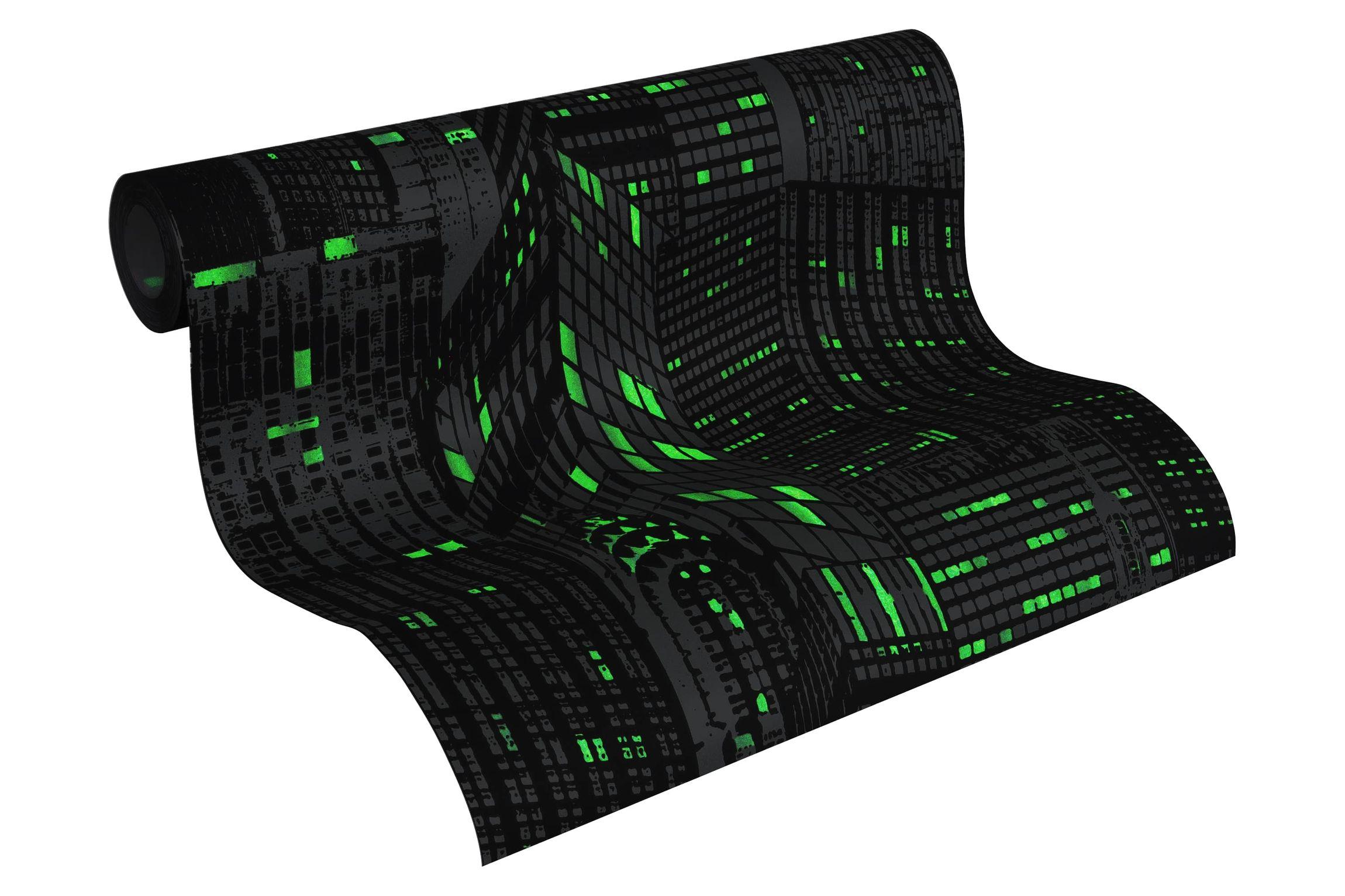 a s cr ation effekt tapete day night glow in the dark vlies grau schwarz leuchtend 252845. Black Bedroom Furniture Sets. Home Design Ideas