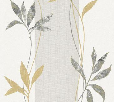 Produktfoto A.S. Création florale Tapete - Del Sol - Vlies Metallic Schwarz Weiß mit Struktur 326544
