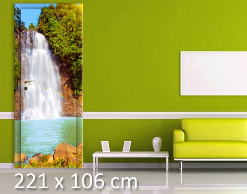 Produktfoto Türtapete Wald selbstklebend - Wasserfall Romantik