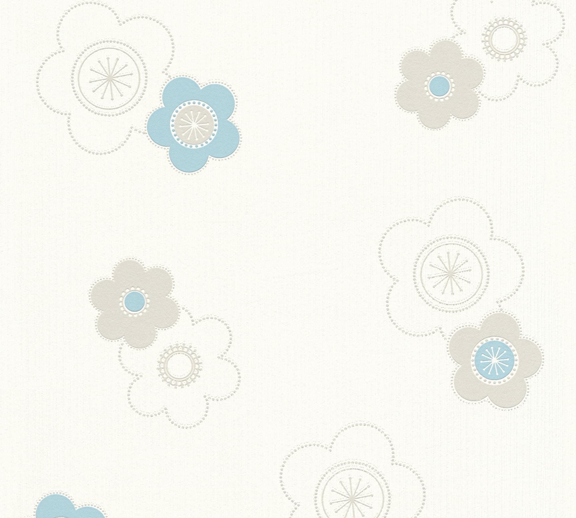 A S Creation Florale Tapete Happy Spring Vlies Beige Blau Weiss