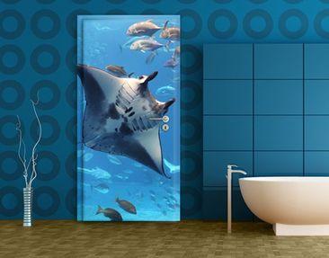 Produktfoto Türtapete Unterwasser - Manta Ray - selbstklebend