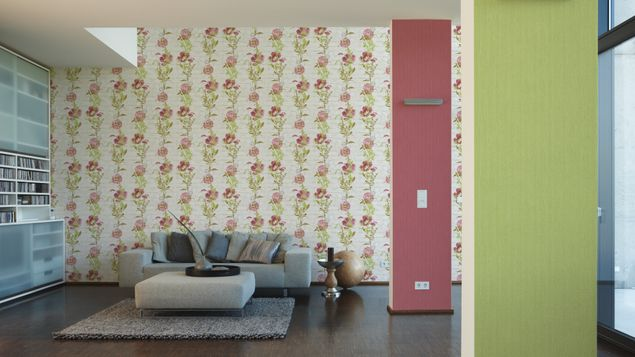 Produktfoto A.S. Création Streifentapete - Urban Flowers - Papier Metallic Rot mit Struktur 328051