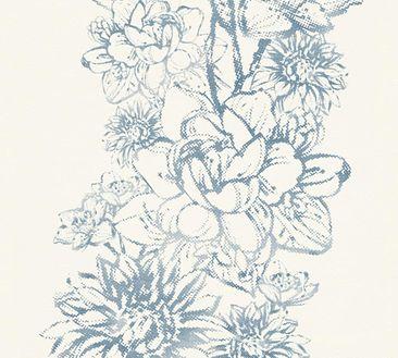 Produktfoto A.S. Création florale Tapete - Vision - Vlies Blau Metallic Weiß 307062