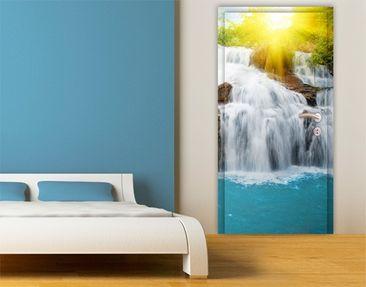 Produktfoto Türtapete Wasserfall selbstklebend - Morgen im Paradies