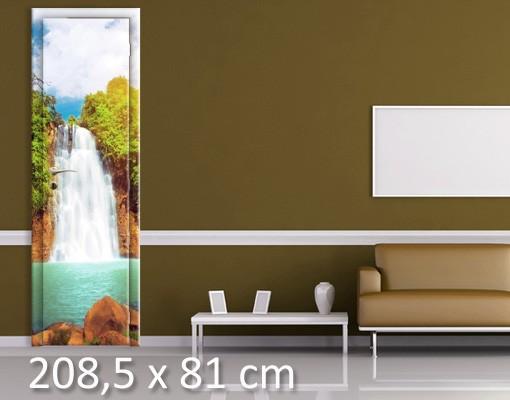 Produktfoto Türtapete Wasserfall selbstklebend - Paradies Lagune