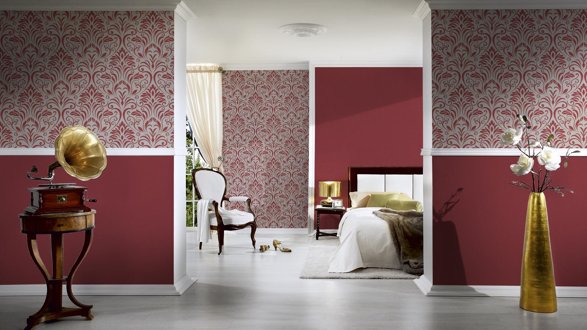 livingwalls uni tapete moments vlies rot mit struktur 328358. Black Bedroom Furniture Sets. Home Design Ideas