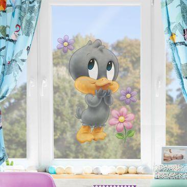 Produktfoto Fensterfolie - Fenstersticker - Baby Looney Tunes Baby Duffy Duck mit Blumen