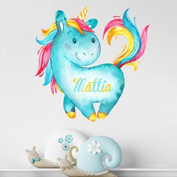 Immagine del prodotto Adesivo murale Unicorno turchese con testo personalizzato