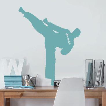 Immagine del prodotto Adesivo murale No.RS125 Karate con nome personalizzato