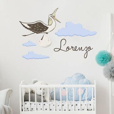 Immagine del prodotto Adesivo murale No.FB161 Cicogna con testo personalizzato