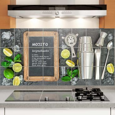 Produktfoto Fliesenbild - Mojito Rezept - Fliesensticker Set