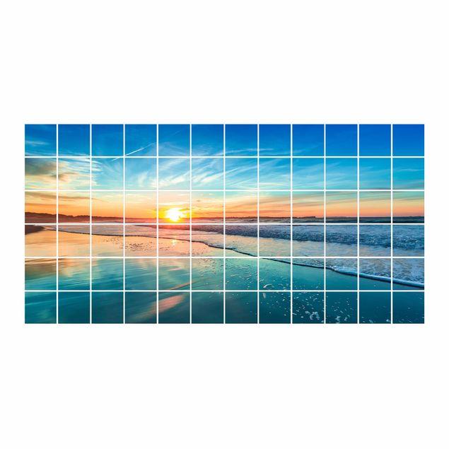 Produktfoto Fliesenbild - Romantischer Sonnenuntergang am Meer - Fliesensticker Set Querformat