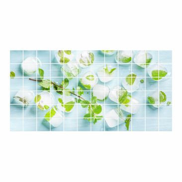 Product picture Tile Mural Ice cubes with mint leaves
