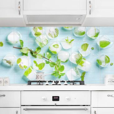 Produktfoto Tile Mural Ice cubes with mint leaves
