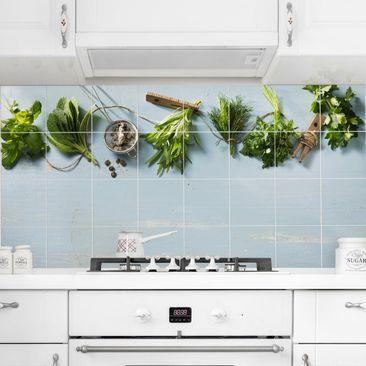 Produktfoto Fliesenbild - Gebündelte Kräuter - Fliesensticker Set Querformat