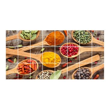 Product picture Tile Mural Spices on wooden spoon...
