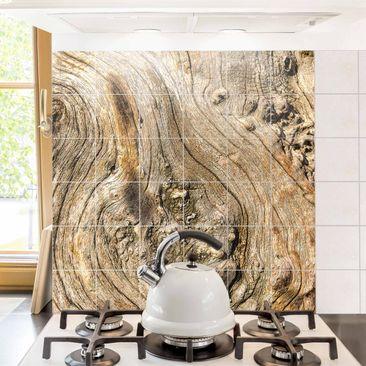 Produktfoto Fliesenbild - Alte Holzstruktur - Fliesensticker Set Quadrat
