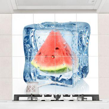Produktfoto Fliesenbild - Melone im Eiswürfel - Fliesensticker Set