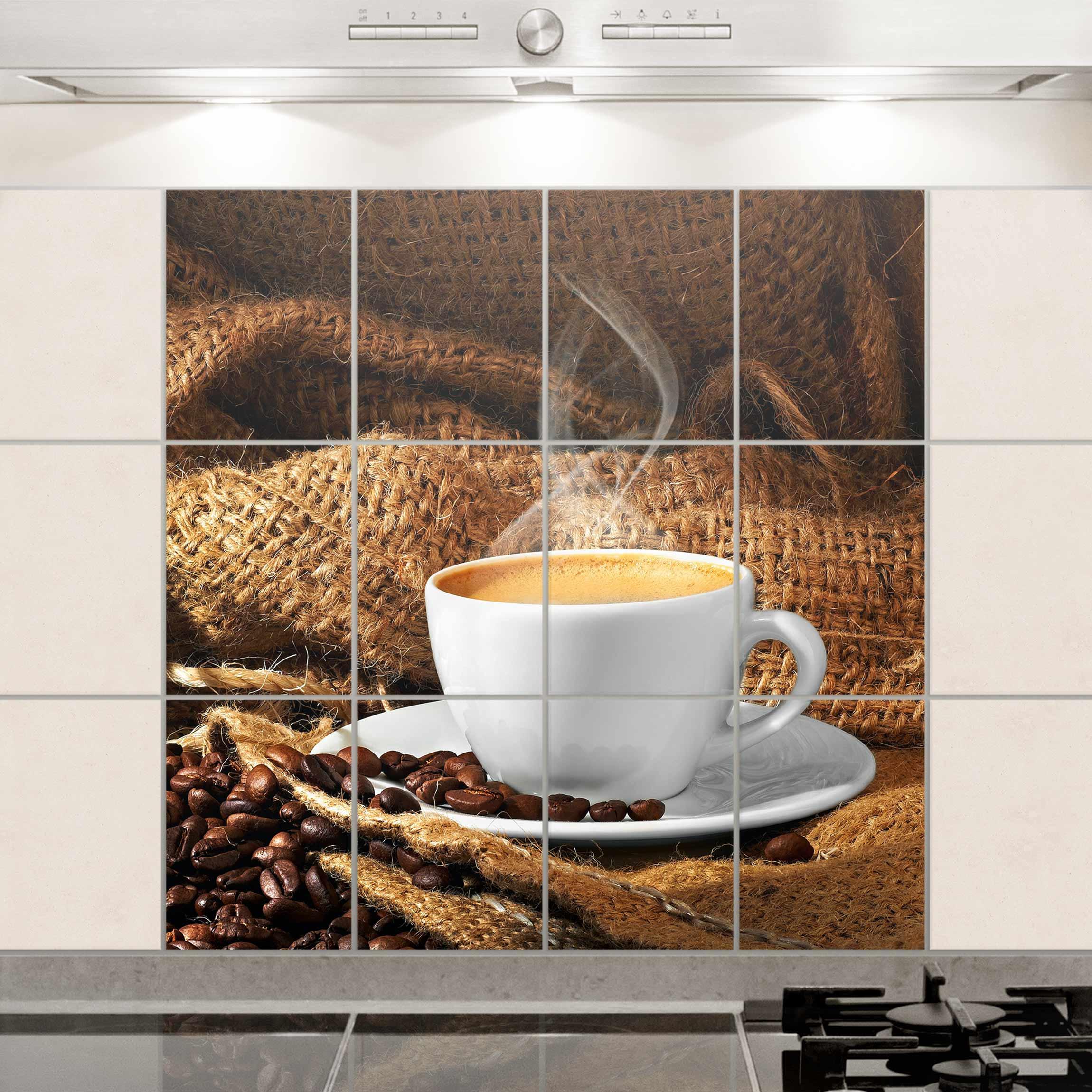 Fliesenbild kaffee am morgen fliesensticker set - Fliesensticker kaffee ...