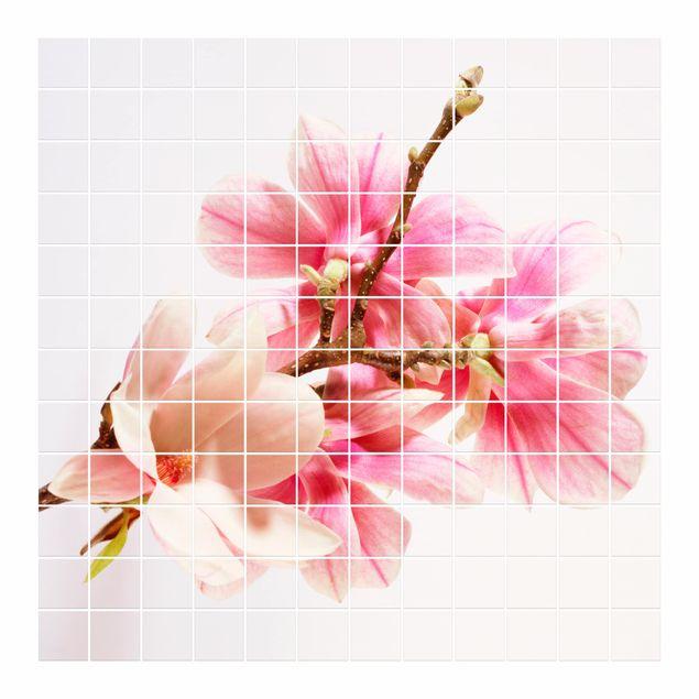 Produktfoto Fliesenbild - Magnolienblüten - Fliesensticker Set